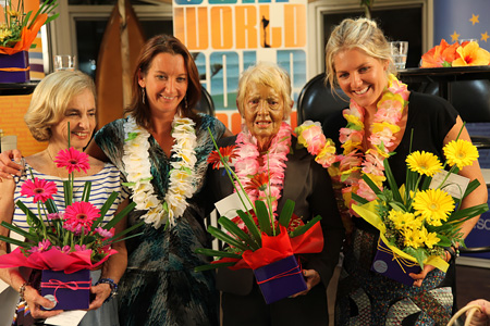 "The Divas of Surfing – Kathy ""Gidget"" Kohner Zuckerman, Layne Beachley, Phyllis O'Donell and Stephanie Gilmore"